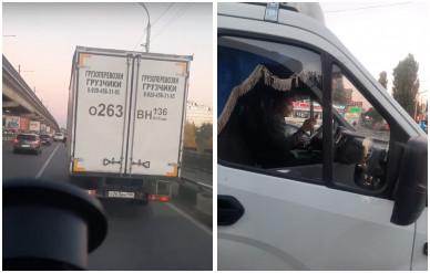 В Воронеже маршрутчик снял на видео «ГАЗель», ехавшую по выделенке