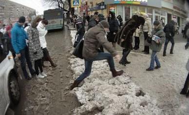 В Воронеже непогода парализовала движение в центре города