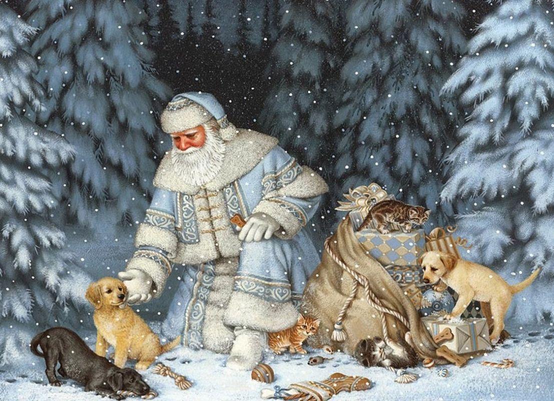 зимние сказочные старинные открытки